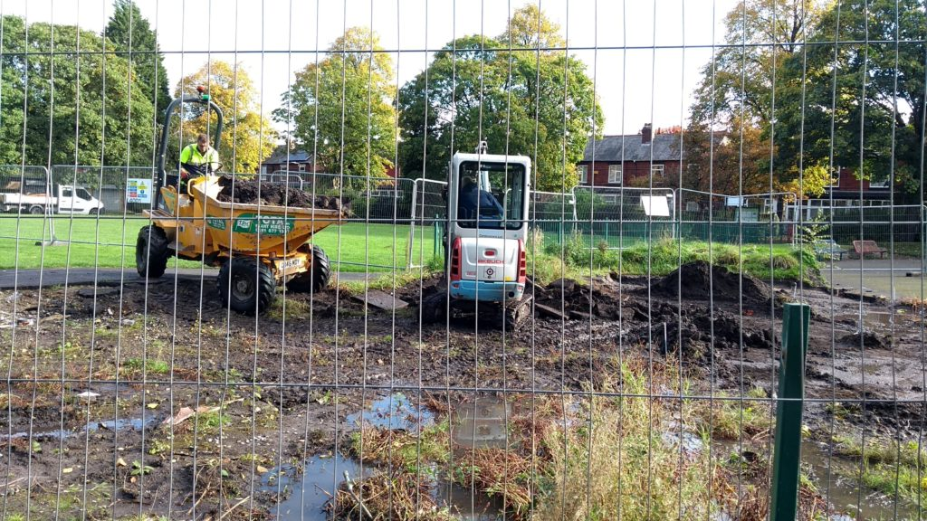 diggers on site clearing the foundations